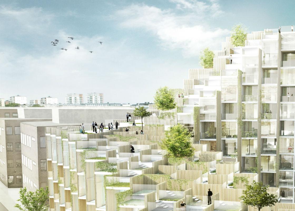 Blocos de madeira e vidro marcam edif cio do big em for Terrace building